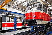 Trams in workshops in Depot Hostivar, Prague — Foto Stock