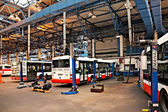 Buses in workshops in Depot Hostivar, Prague — Foto Stock