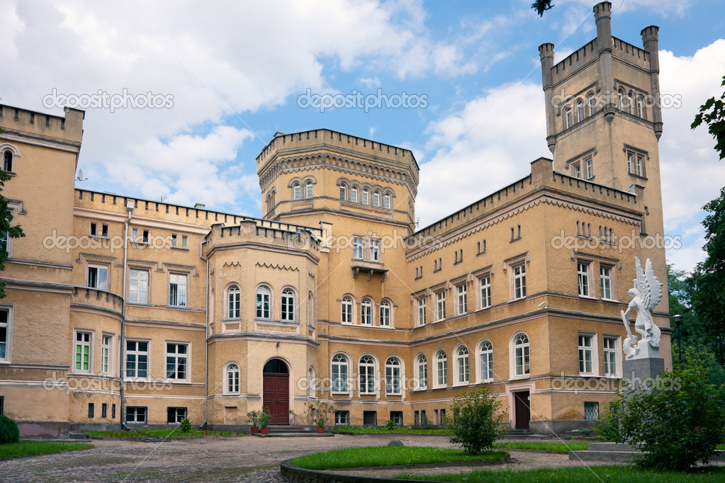 Neo-gothic castle - Narzymski Palace / Jablonowo Pomorskie 1853  Zdjcie stockowe #10059769