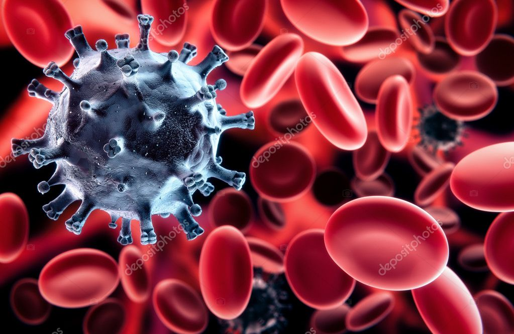 Black virus in blood - among the red blood cells - Scanning Electron Microscopy stylized illustration — Stock Photo #8653323