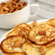 Stock Photo: Delicious homemade pancakes with almonds