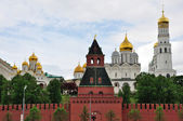 Churches the Moscow Kremlin and Taynitskaya tower, Russia — Stock Photo