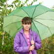 Girl with a green umbrella in the park — Stock Photo