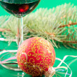 New Year's still life - glasses of wine and Christmas balls — Stock Photo #8062337