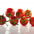 Sprig of ripe cherry tomatoes on light background — Stock Photo #8066880