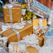 Many gifts under the Christmas tree — Stock Photo