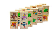 Children's wooden dominoes on a light background — Stock Photo
