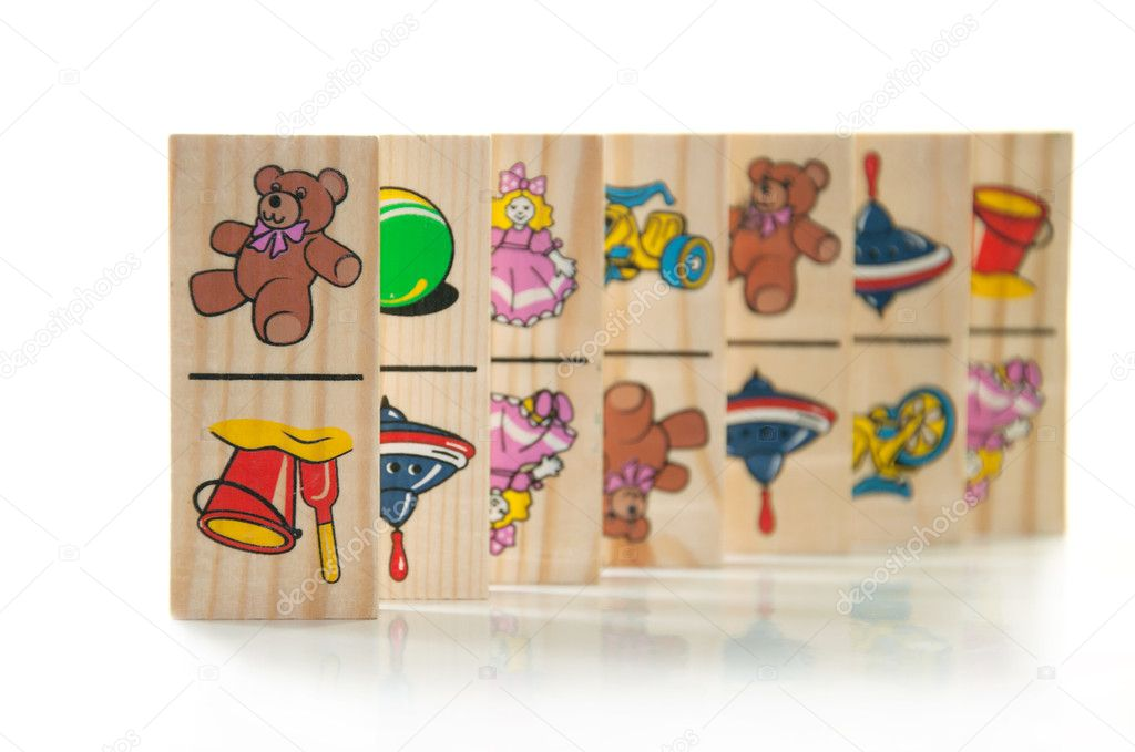 Children's wooden dominoes on a light background — Stock Photo #8136548