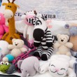 图库照片: Knitted soft toys, handmade