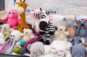 Knitted soft toys, handmade — Stock Photo