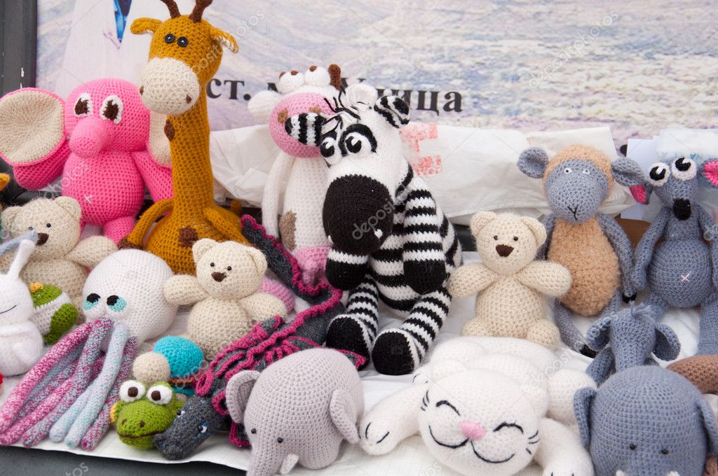 Knitted soft toys, handmade  Stock Photo #8231225