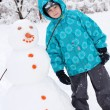 A boy and a snowman - a winter holiday — Foto de Stock