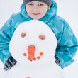 A boy and a snowman - a winter holiday — Stock Photo #8431832