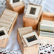 Old slides into a cardboard box — Stock Photo