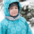 Portrait of a boy with wet snow from the face of — Stock Photo