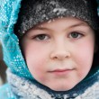 Stock Photo: Portrait of boy with wet snow from face of