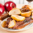 Stock Photo: Roast goose with apple