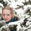Young woman in snow-covered spruce forest — Foto de Stock