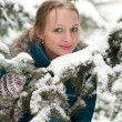 Young woman in snow-covered spruce forest — Stock Photo #9213724
