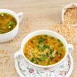 Stock Photo: A delicious pea soup home cooking