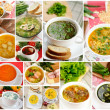 Stock Photo: Tasty homemade soups, collage