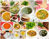 Tasty homemade soups, collage — Stock Photo
