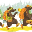 Three bears hiking — Vector de stock
