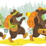 tre björnar vandring — Stockvektor