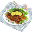 Baked fish with vegetables on a plate — Stock Vector