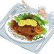 Baked fish with vegetables on a plate — Stock Vector #10521896