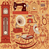 Collection of retro appliances and furniture — Vector de stock