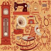 复古的电器和家具的集合 — 图库矢量图片