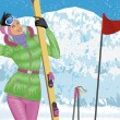 Skiing — Stockvectorbeeld