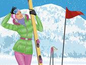 Skiing — Stock Vector