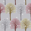 Spring pattern with flowering trees - Stock Vector
