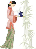 Chinese woman with tray — Vector de stock
