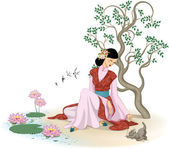 Beautiful Chinese woman with kitten — Stock Vector