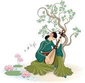 Pipa oynayan güzel Çinli kadın — Stok Vektör