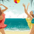 Two beautiful girls at a beach - Imagens vectoriais em stock