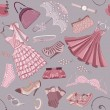 Background with women's clothing — Stock Vector