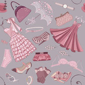 Background with women's clothing — Vector de stock