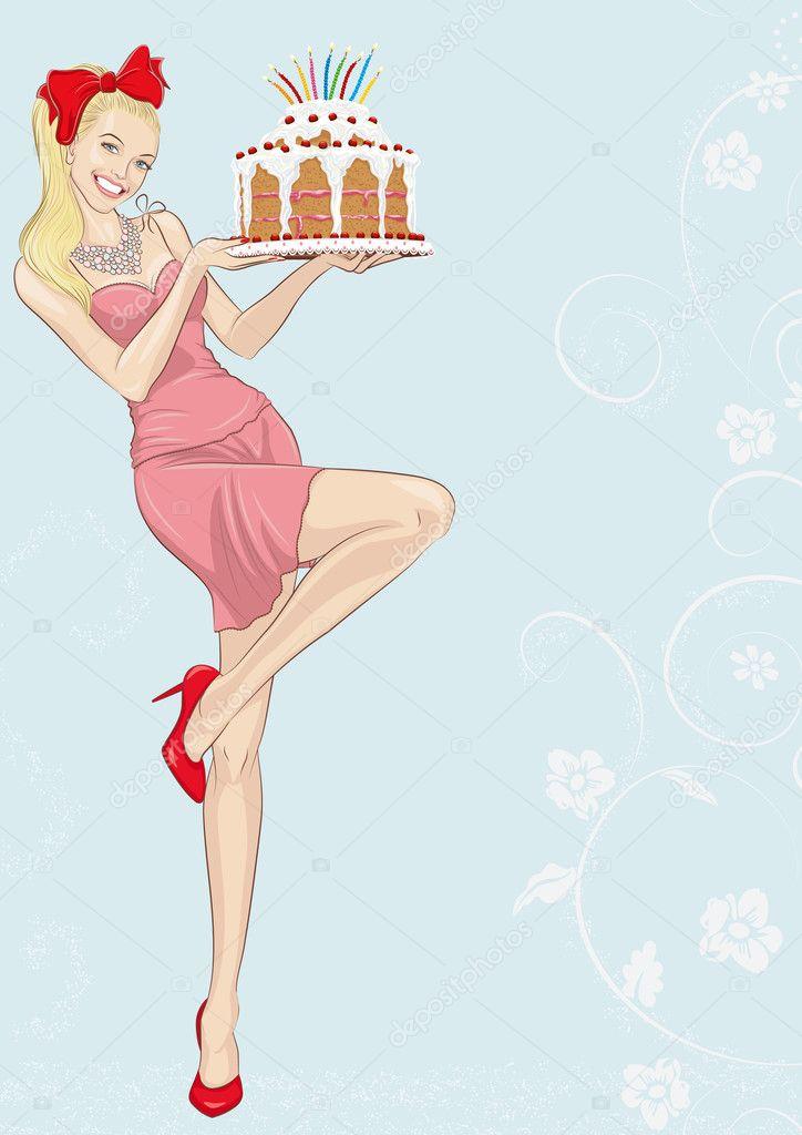 Открытка блондинка с днем рождения 99