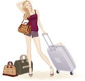 Traveling girl — Stock Vector