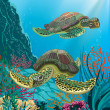 Постер, плакат: Sea turtles
