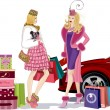 Stock Vector: Two shopping girls
