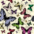 Vector seamless pattern with butterflies - Stock Vector