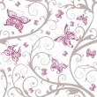 Romantic floral butterfly seamless pattern — Stock Vector