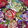 Beautiful seamless background with abstract colored roses — Imagen vectorial