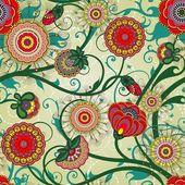 美丽花饰复古壁纸 — 图库矢量图片