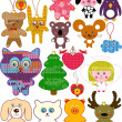 Set of christmas Knitted Toys — Stock Vector #8043375